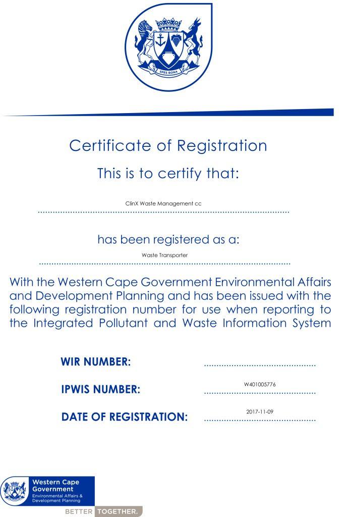 transport certificates  u2013 clinx medical waste management